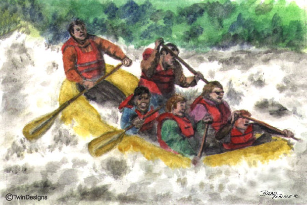 """White Water Rafting"" Note Cards Original Watercolor by Brad Tonner"