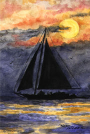 """Sunset Sailing"" Note Cards Original Watercolor by Brad Tonner"