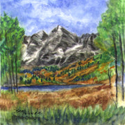 """Maroon Bells Colorado"" Ceramic Trivet Original Watercolor by Brad Tonner"