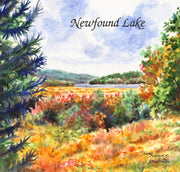"""Fall Newfound Lake"" Ceramic Tile Trivet  Original Watercolor by Brad Tonner. 6"" x 6"" Cork Backing."