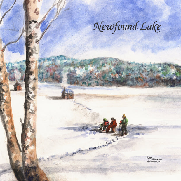"""Ice Fishing on Newfound Lake"" Ceramic Tile Trivet  Original Watercolor by Brad Tonner. 6"" x 6"" Cork Backing."
