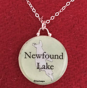 Sterling Silver Newfound Lake Map Enameled Pendant Jewelry