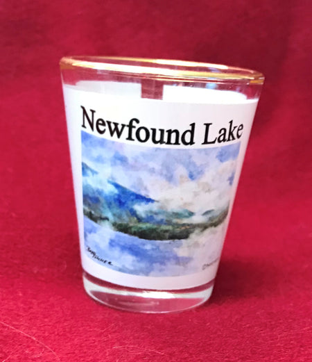 Misty Morning on Newfound Lake Shot Glass