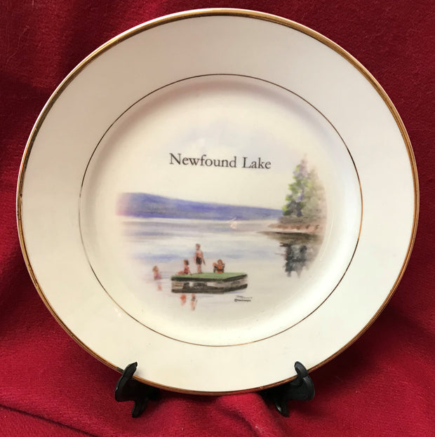 """Newfound Lake Raft"" 8""  China Plate featuring an original watercolor by Brad Tonner"