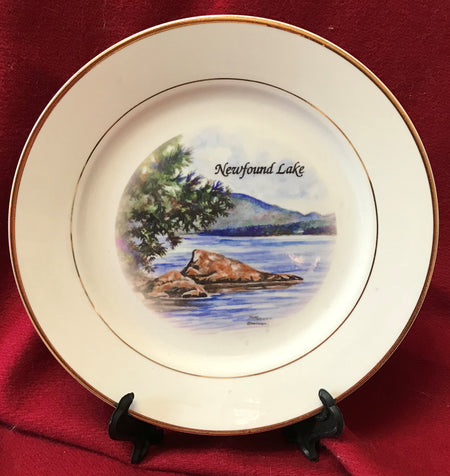 """Newfound Lake "" 8""  China Plate featuring an original watercolor by Brad Tonner"