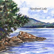 """Newfound Lake"" Ceramic Tile Trivet  Original Watercolor by Brad Tonner. 6"" x 6"" Cork Backing."