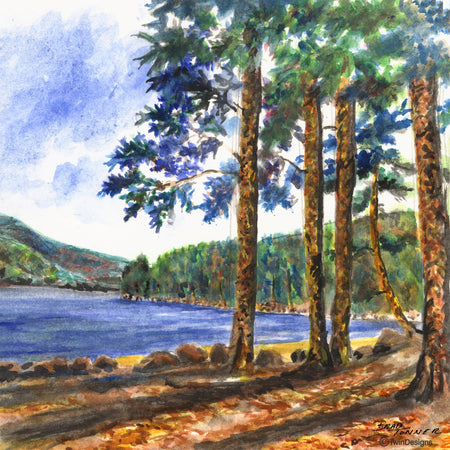 """Wellington Beach Newfound Lake"" Ceramic Tile Trivet  Original Watercolor by Brad Tonner. 6"" x 6"" Cork Backing."