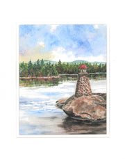 """Newfound Lake Lighthouse"" Print of an Original Watercolor by Brad Tonner"