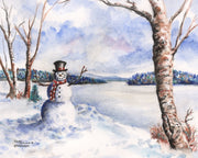 Newfound Lake Snowman Note Cards