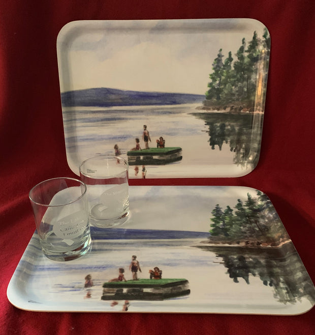 """Lake Raft"" Wood Serving Tray Featuring an Original Watercolor by Brad Tonner"