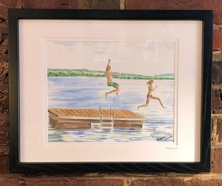 """Summer Day at the Raft"" Framed Print by Brad Tonner"