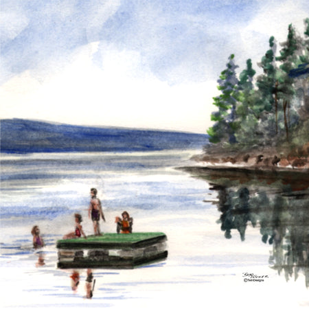 """Lake Raft"" Ceramic Tile Trivet  Original Watercolor by Brad Tonner. 6"" x 6"" Cork Backing."
