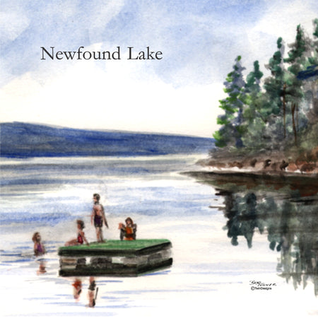 """Newfound Lake Raft"" Ceramic Tile Trivet  Original Watercolor by Brad Tonner. 6"" x 6"" Cork Backing."