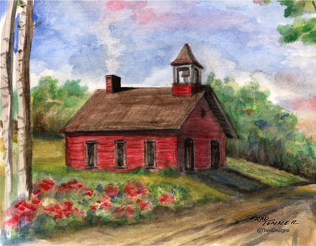 Country Schoolhouse Note Cards
