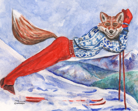 Skiing Fox Note Cards