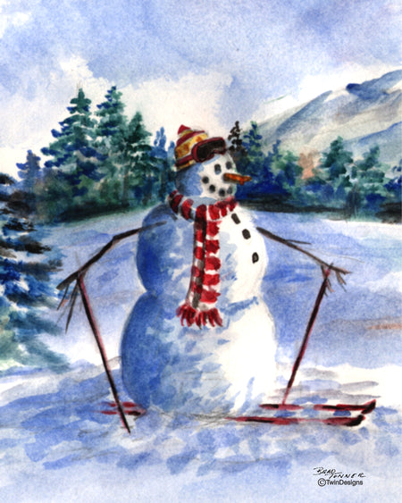 Skiing Snowman Note Cards