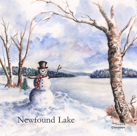 """Newfound Lake Snowman"" Ceramic Tile Trivet"
