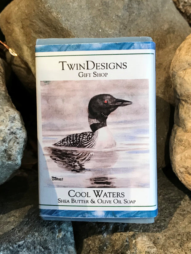 "Soap featuring a Watercolor by Brad Tonner ""Early Morning Loon""."