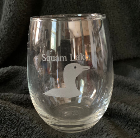 Squam Lake 15oz Stemless Loon Wine Glass
