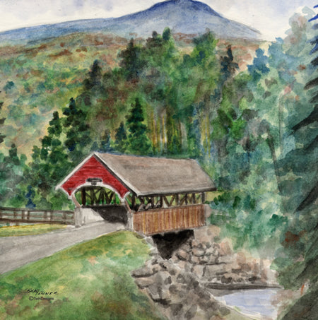 """Flume Covered Bridge"" Ceramic Tile Trivet"