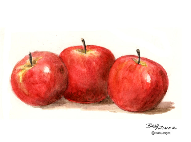 Three Apples Note Cards