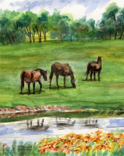 Three Horses Note Cards
