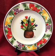 """Tulip Pot"" 8""  China Plate featuring an original painting by Margery Tonner"