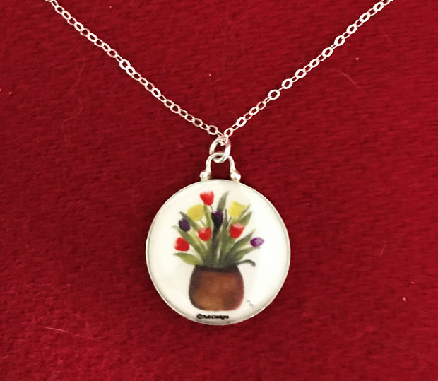 Sterling Silver Tulip Pot Enameled Pendant Jewelry