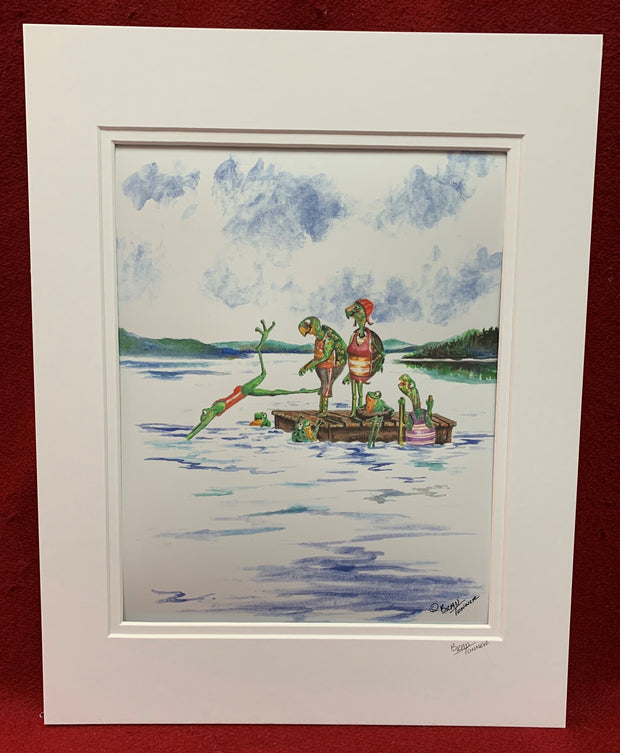 """Turtles on the Raft"" print of an Original Watercolor by Brad Tonner"