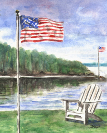 Lakeside Flag Note Cards