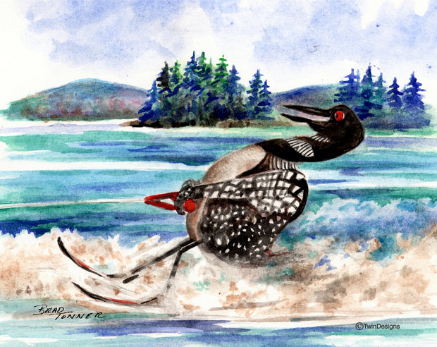 Water Skiing Loon Note Cards