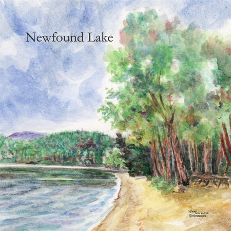 """Wellington Beach Newfound Lake"" Ceramic Tile Trivet"