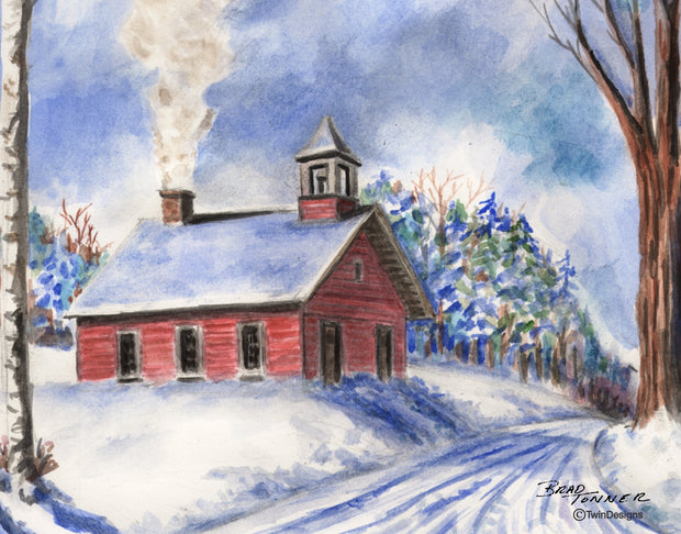 Winter Schoolhouse Note Cards