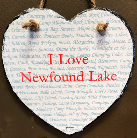 Newfound Lake Words Heart Slate