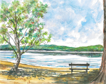 Newfound Lake Bench Note Cards
