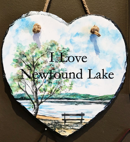 Newfound Lake Scene Slate Heart