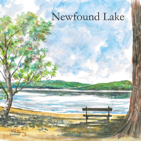 """Newfound Lake Bench"" Ceramic Tile Trivet  Original Watercolor by Brad Tonner. 6"" x 6"" Cork Backing."
