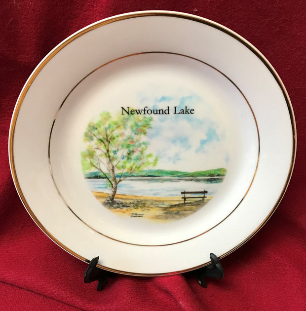 """Newfound Lake Bench"" 8""  China Plate featuring an original watercolor by Brad Tonner"