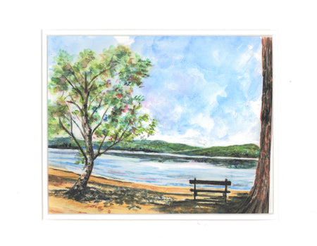 """Newfound Lake Bench"" Print of an Original Watercolor by Brad Tonner"