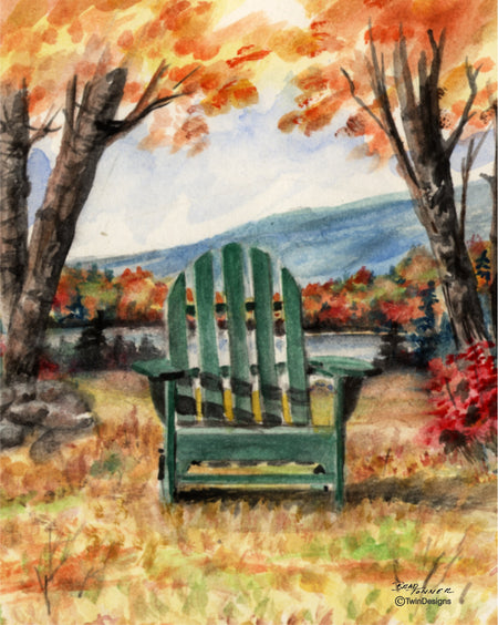Fall Adirondack Chair Note Cards
