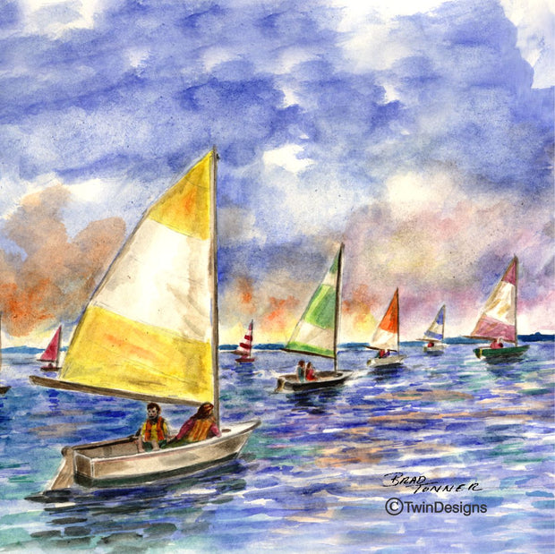 """Sailing to the Sun"" Ceramic Trivet Original Watercolor by Brad Tonner"