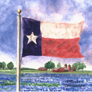 """Texas Bluebonnet Field"" Ceramic Trivet Original Watercolor Brad Tonner"