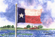"""Texas Bluebonnet Field"" Note Cards Original Watercolor by Brad Tonner"