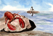"""Lobster"" Note Cards Original Watercolor by Brad Tonner"