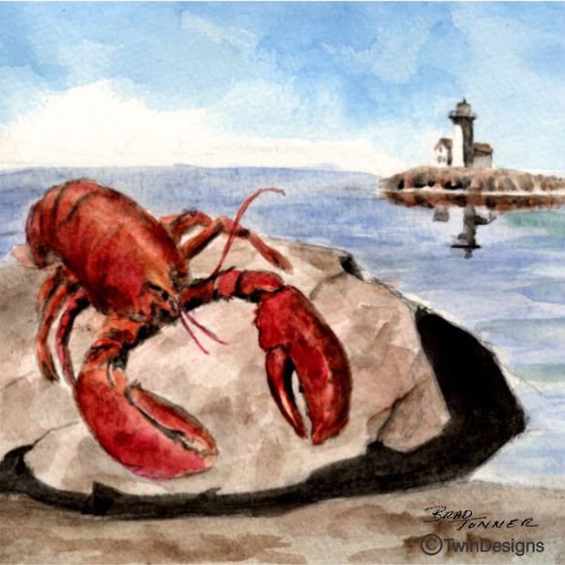 """Lobster"" Ceramic Tile Original Watercolor by Brad Tonner"