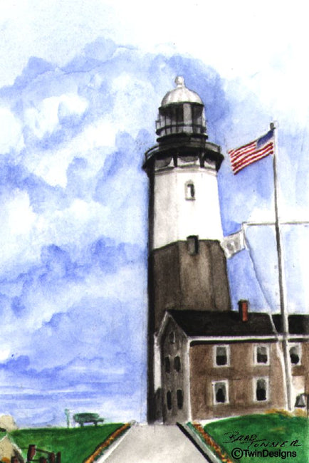 """Montauk Point Lighthouse New York"" Boxed Note Cards Original Watercolor by Brad Tonner"