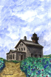 """North Lighthouse Block Island"" Boxed Note Cards Original Watercolor by Brad Tonner"