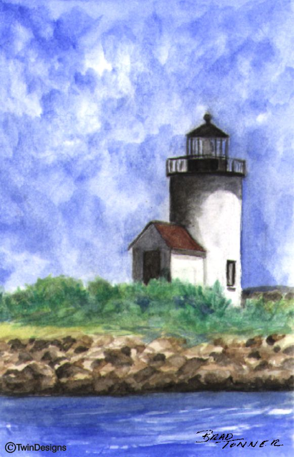 """Goat Island Lighthouse Maine"" Boxed Note Cards Original Watercolor by Brad Tonner"