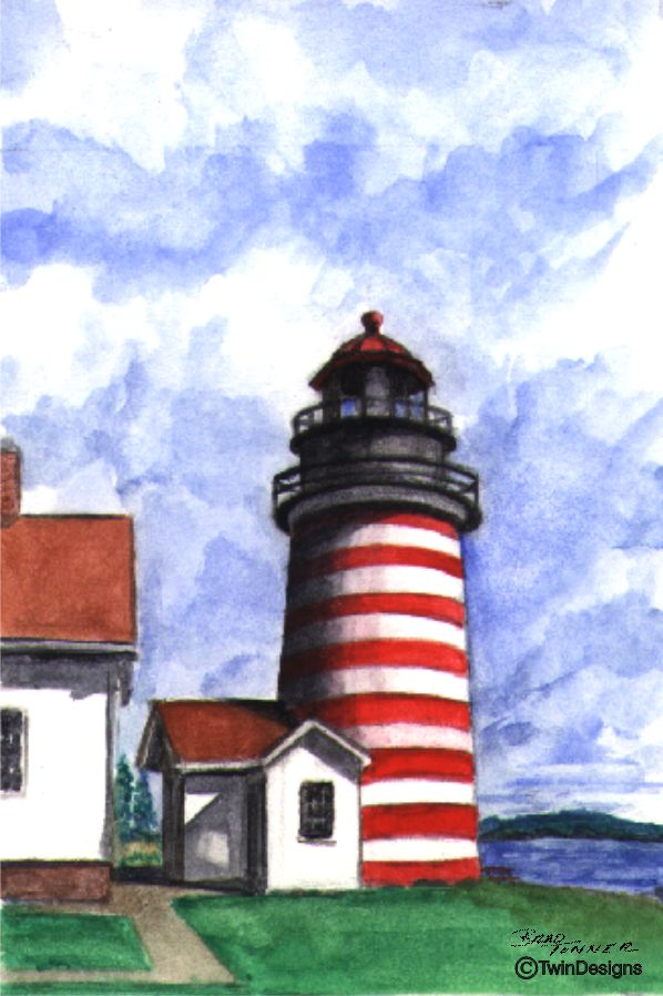 """West Quoddy Head Lighthouse Maine"" Boxed Note Cards Original Watercolor by Brad Tonner"