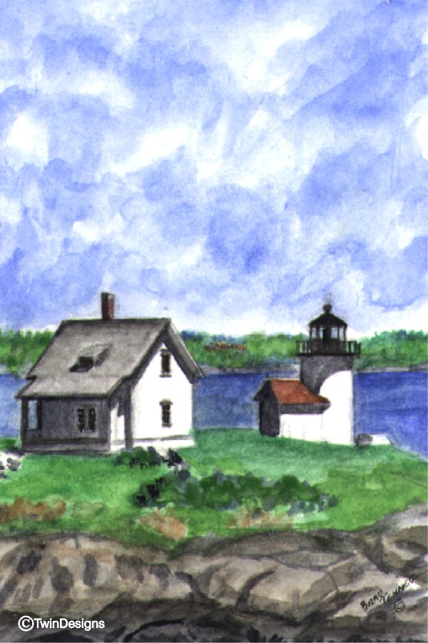 """Curtis Island Lighthouse Maine"" Boxed Note Cards Original Watercolor by Brad Tonner"